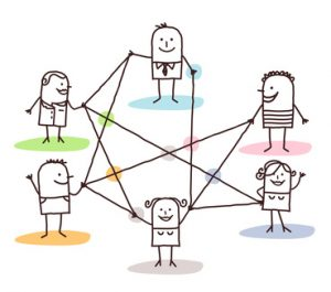 group of people connected by lines